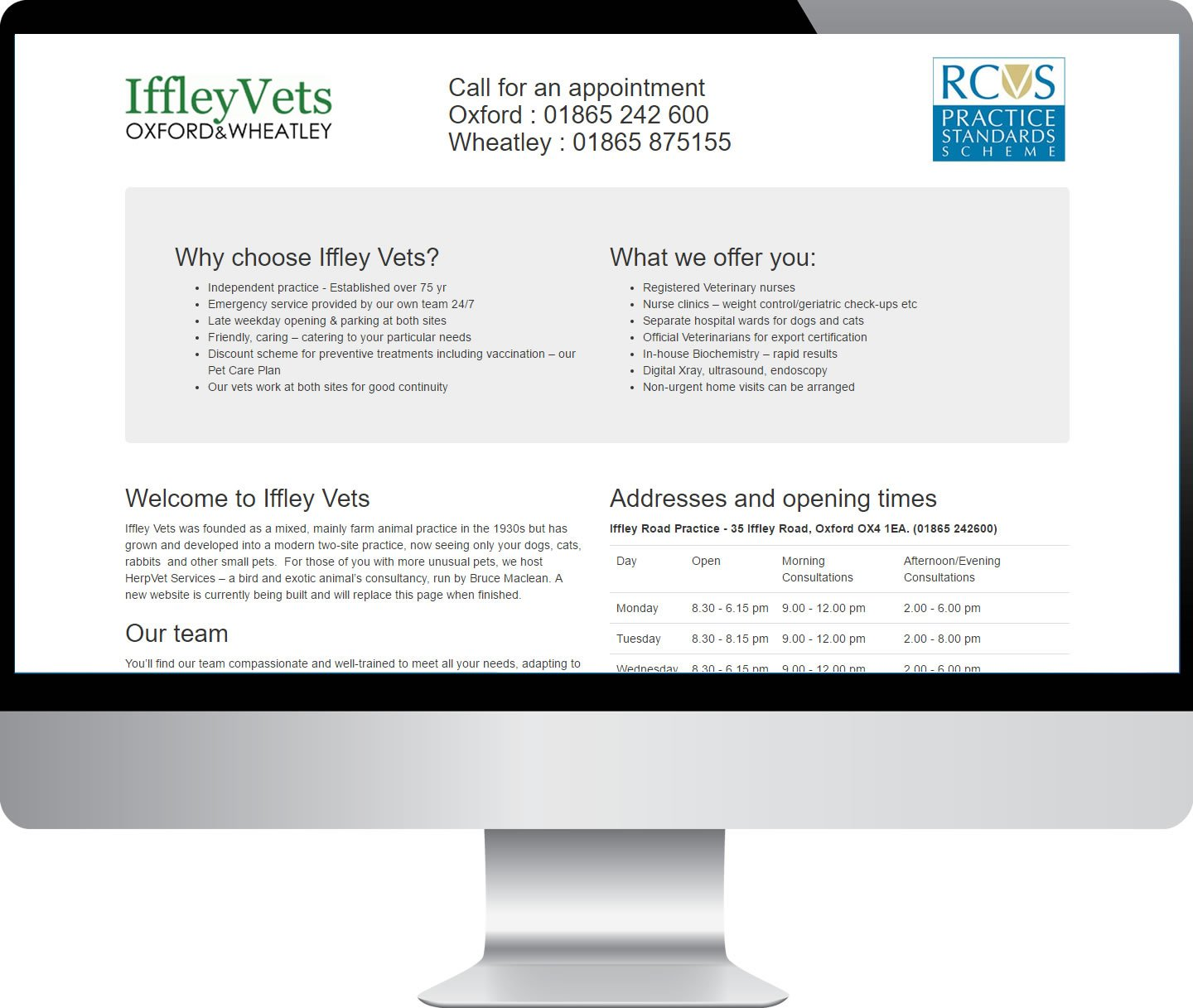 Iffley Vets – Websites by Mark